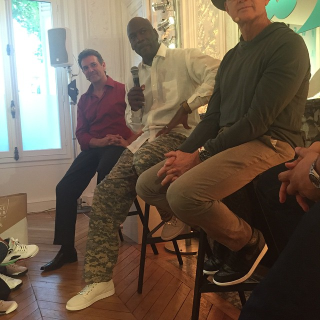 Michael Jordan wearing Air Jordan I 1 Pinnacle White