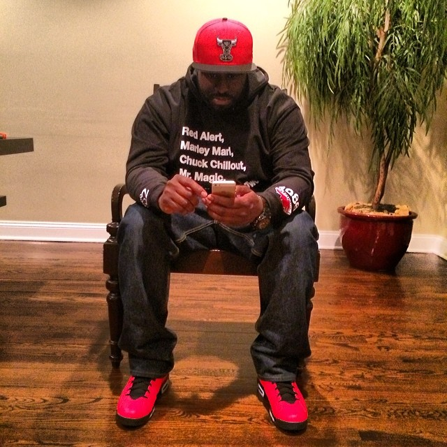 DJ Funk Flex wearing Air Jordan VI 6 Infrared 23