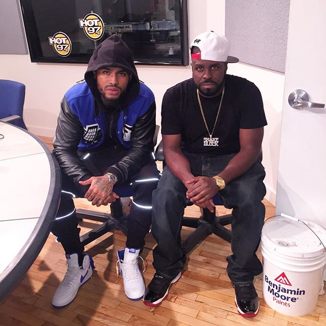 5a59039dcac5 Dave East wearing the White Royal Nike Air Force 1   DJ Funk Flex wearing