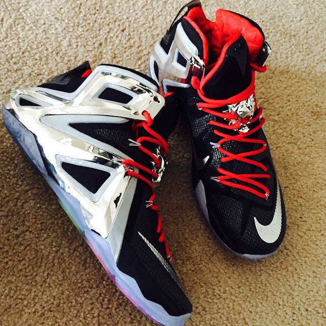 super popular d9230 8ba7f NIKEiD LeBron XII 12 Black Silver-Red