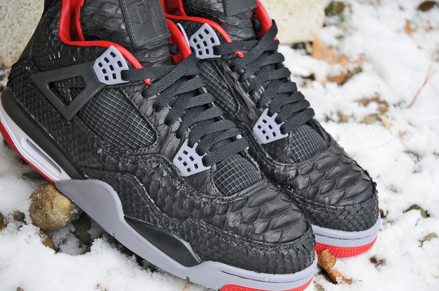 Air Jordan IV 4 Black Python by JBF Customs