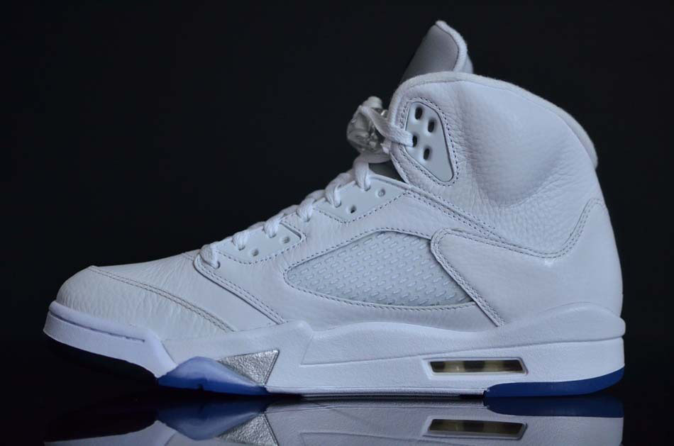 Air Jordan 5 Retro White Metallic Silver Black shoes