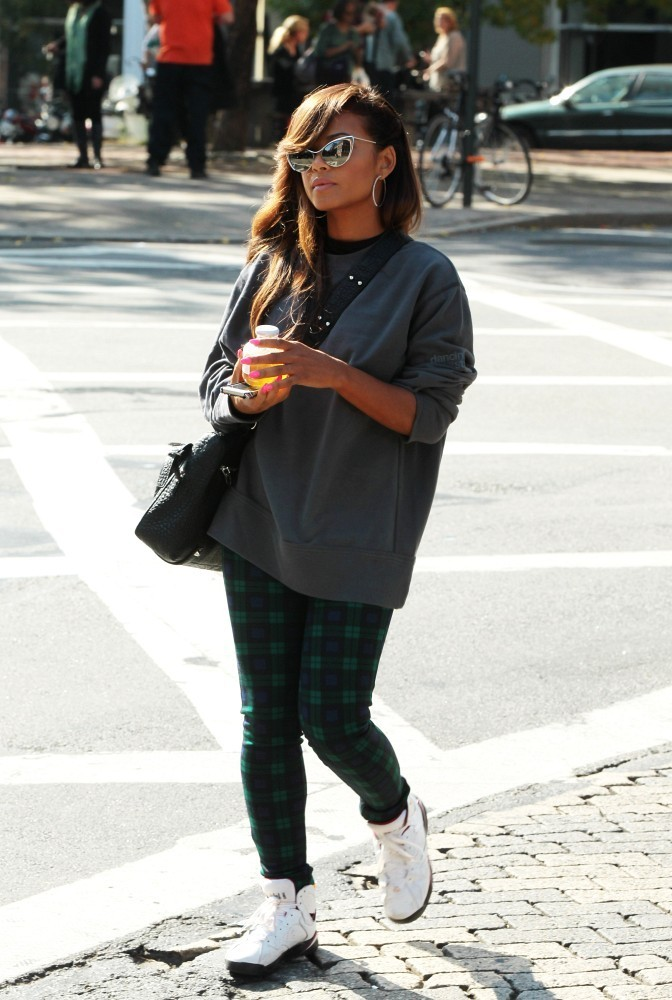 Christina Milian wearing Air Jordan 7 VII Retro  Cardinal