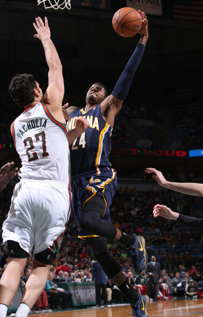 Paul George wearing Nike Zoom Crusader Navy/Yellow PE