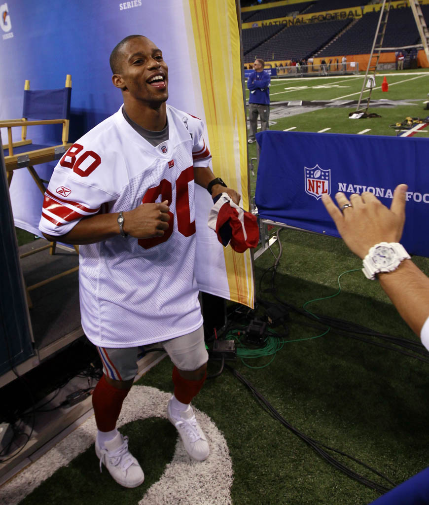 Victor Cruz wearing adidas Originals Superstar II