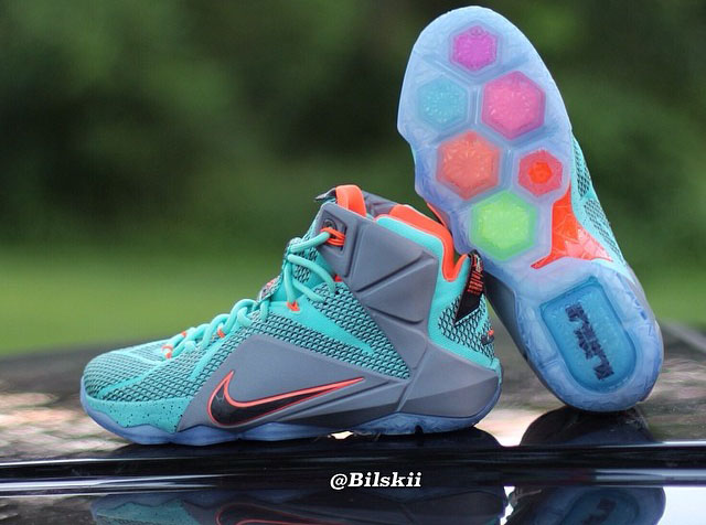 Nike LeBron XII 12 Teal/Grey-Orange Sample (1)