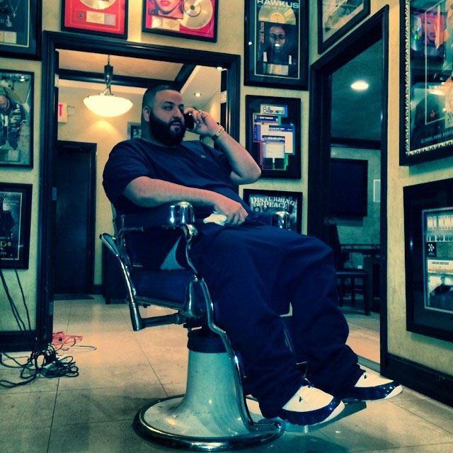 DJ Khaled wearing Air Jordan 9 Retro Pearl