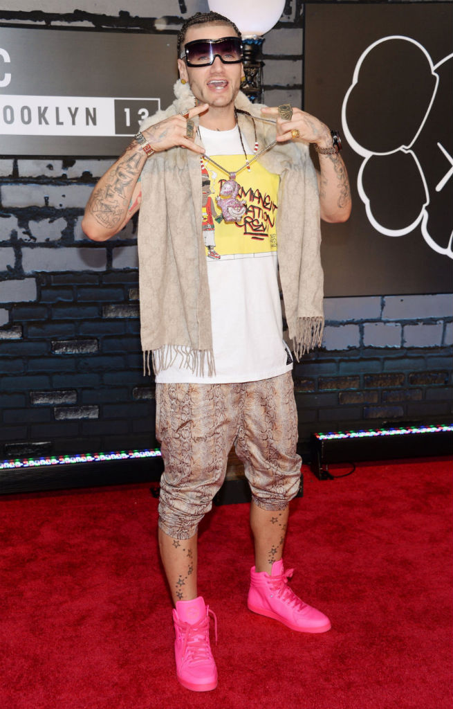 Riff Raff wearing Gucci Neon Sneakers