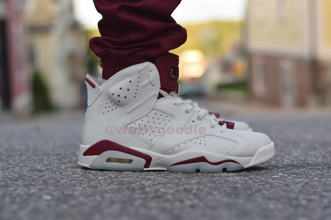 Air Jordan 6 Maroon On-Foot 384664-116 (1)