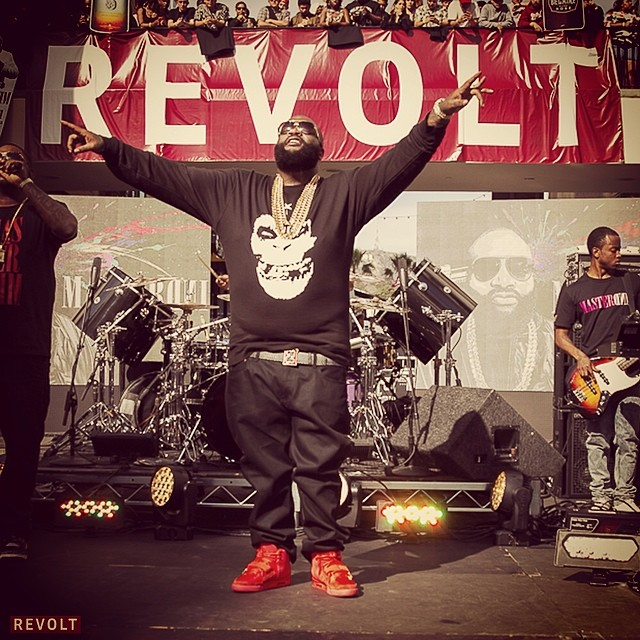Rick Ross wearing Nike Air Yeezy 2 Red October