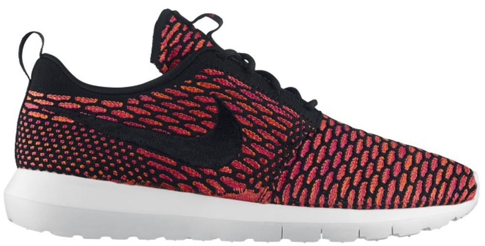 Nike Roshe Run Flyknit Black/White-Fireberry-Total Orange
