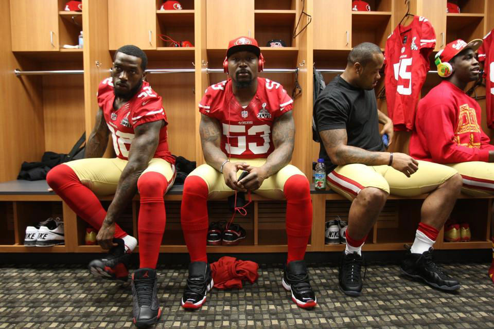 Patrick Willis wearing Air Jordan XIII 13 Black Red; NaVorro Bowman wearing Air Jordan XI 11 Black Red; Ahmad Brooks wearing Nike Air Foamposite One Stealth