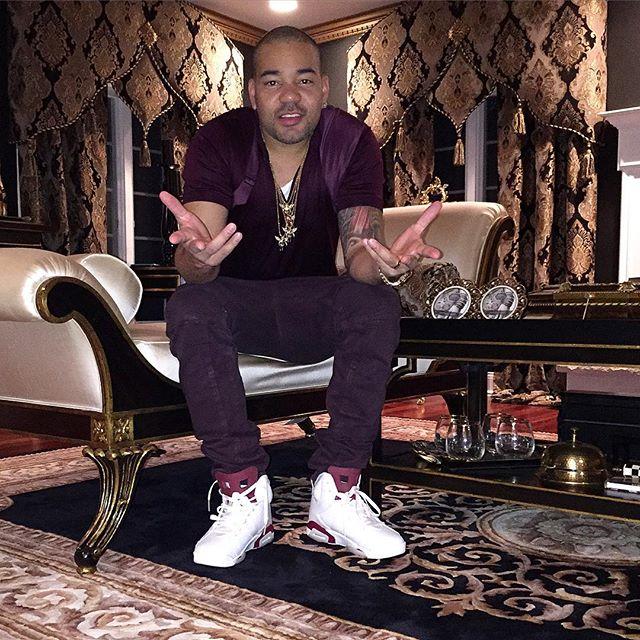 8a8a1724d2d0 DJ Envy wearing the  Maroon  Air Jordan 6