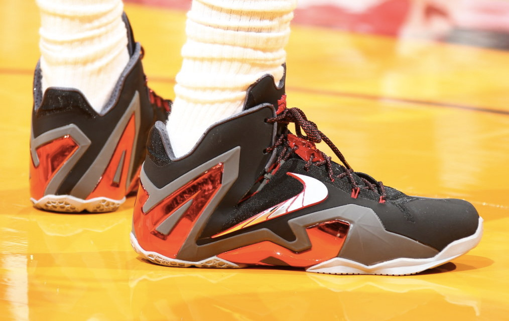 95b023a1876c Up Close  LeBron James Wears LeBron 11 Elite PE For Game 2