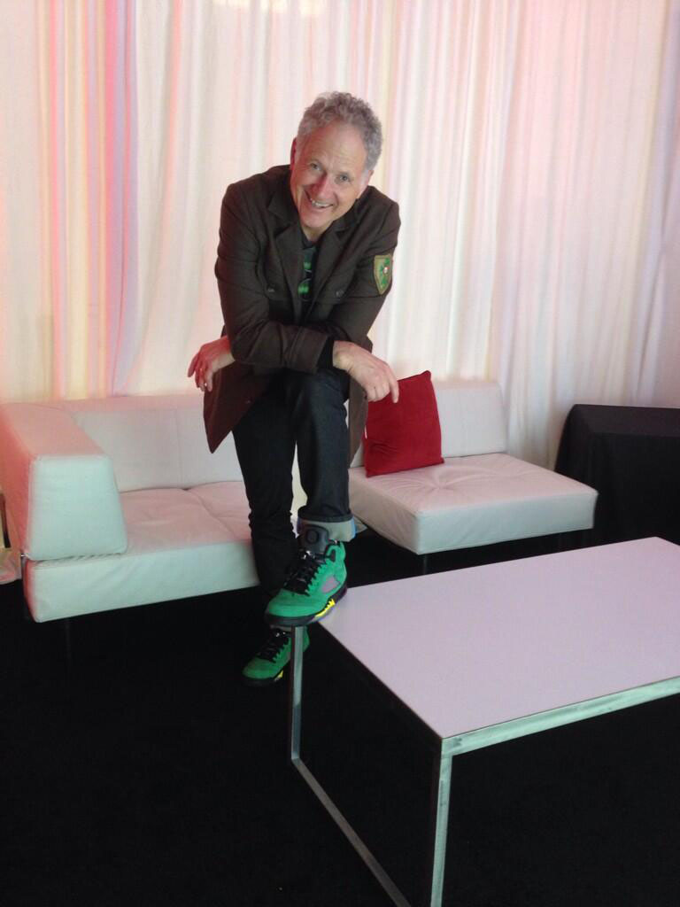 Tinker Hatfield wearing Air Jordan 5 Oregon