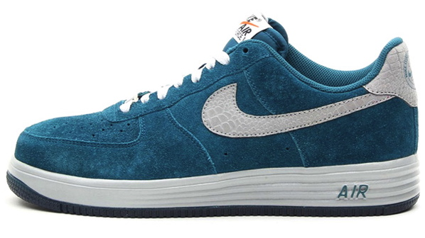 nike lunar force 1 in dark sea suede and reflective silver croc