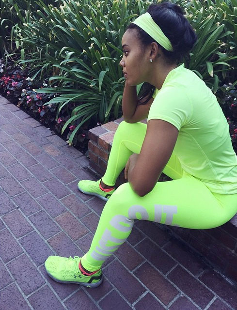 Angela Simmons wearing Under Armour Speedform RC