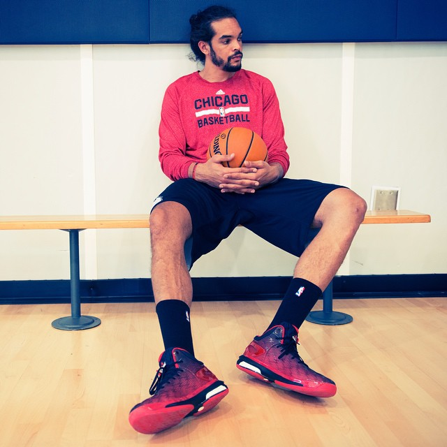 Joakim Noah wearing adidas Crazylight Boost