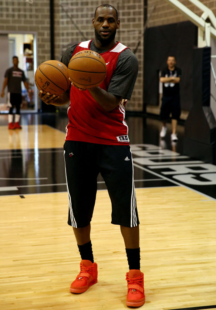 LeBron James wearing Nike Air Yeezy II 2 Red October (1)