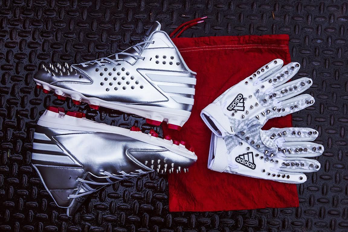Von Miller Adidas Fashion Show Spiked Cleats Gloves