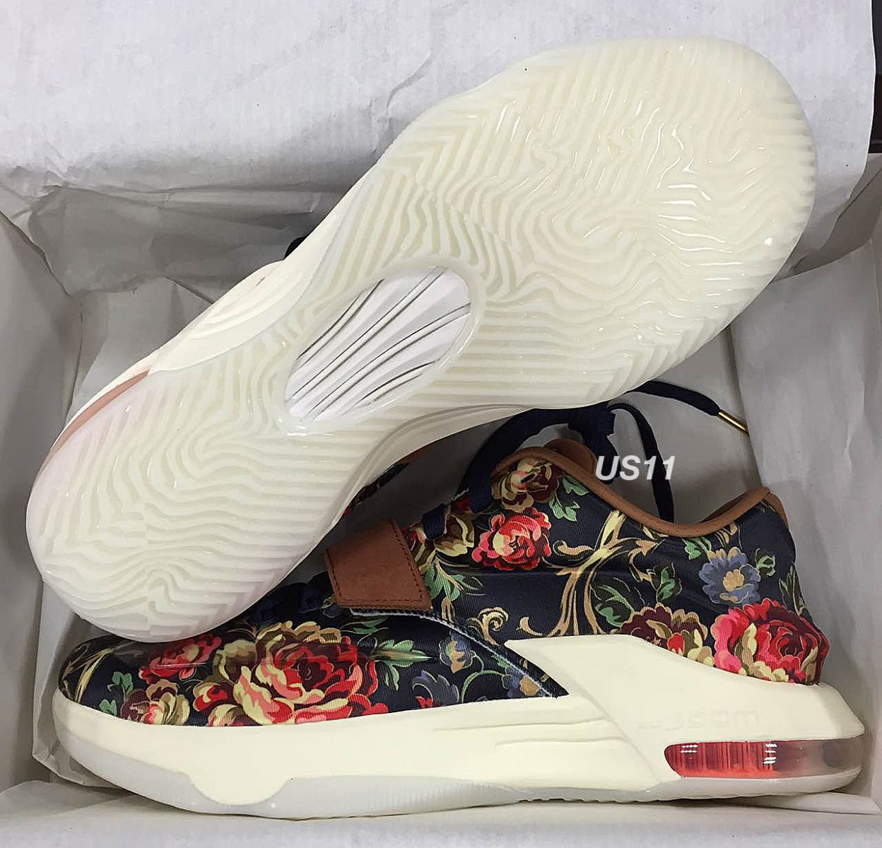 size 40 756cc 0888d Best Cheap Nike KD 7 Floral Midnight Navy Brown Multicolor ...