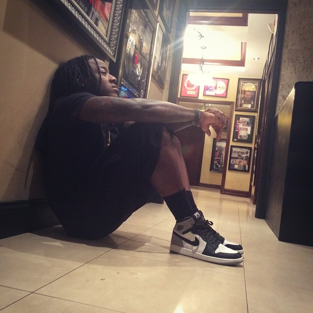 Ace Hood wearing Air Jordan I 1 OG High Barons