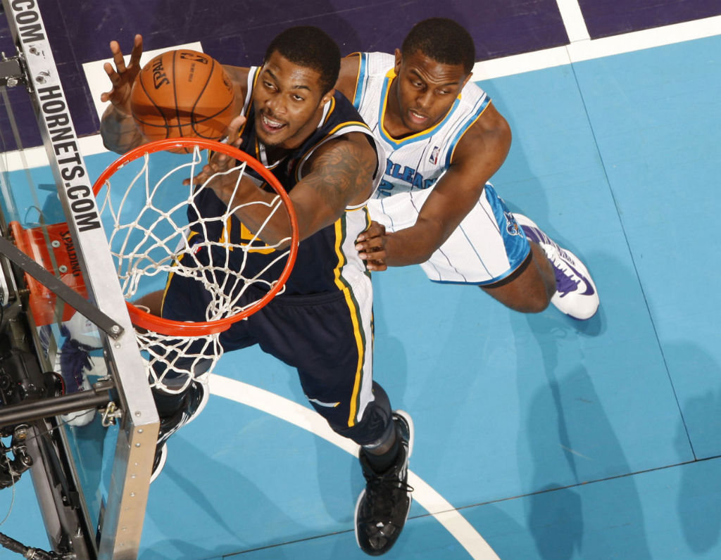 Derrick Favors wearing adidas adizero Ghost