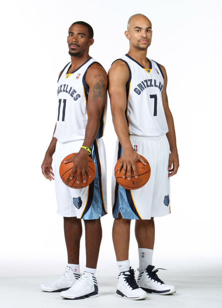 Mike Conley wearing adidas adiZero Crazy Light 2; Jerryd Bayless wearing adidas Crazy Shadow