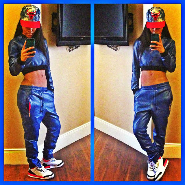 Teyana Taylor wearing Air Jordan III 3 Retro Fire Red