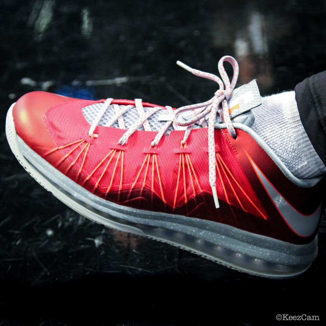 SoleWatch // Up Close At Barclays for Nets vs Clippers - Howard Eisley wearing Nike LeBron 10 Low University Red