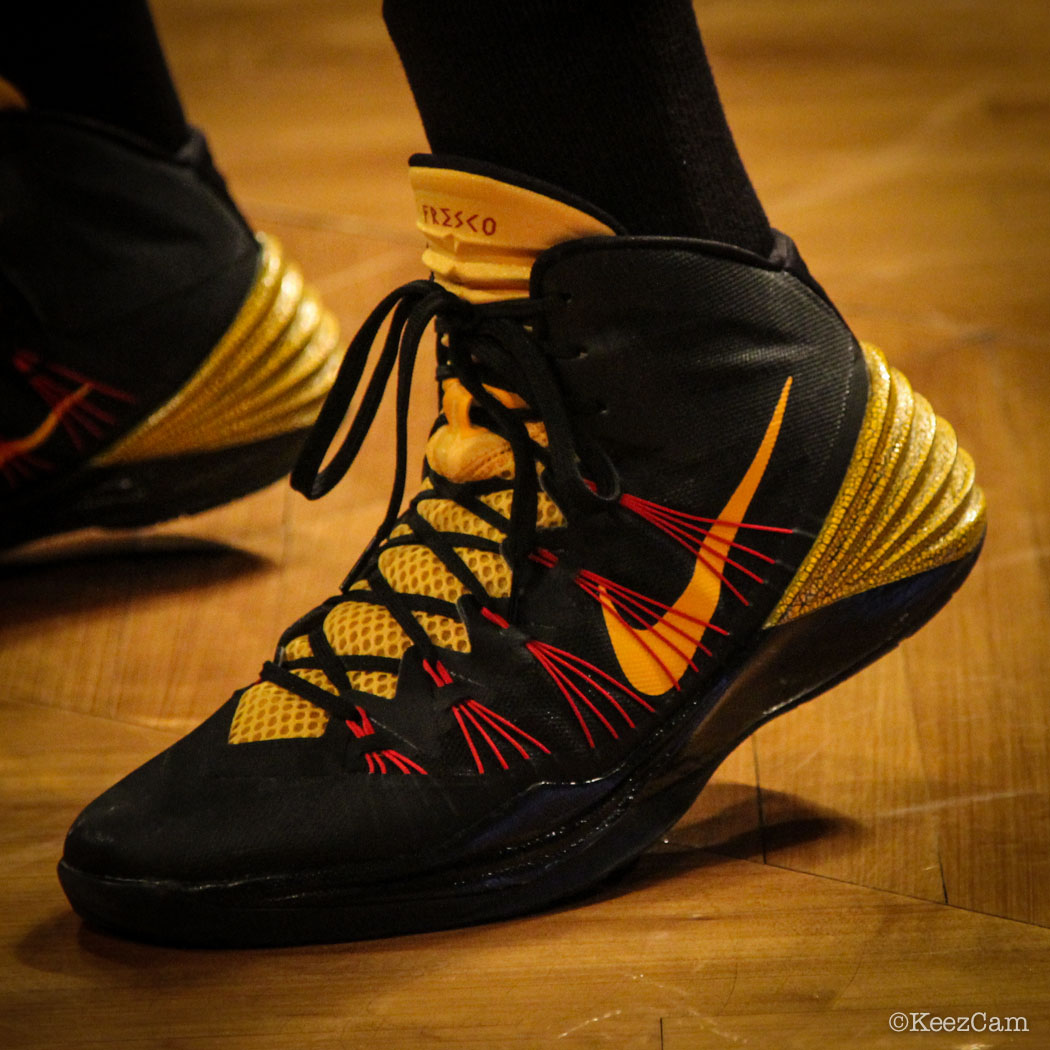 Sole Watch // Up Close At Barclays for Nets vs Cavs - CJ Miles wearing Nike Hyperdunk 2013 PE