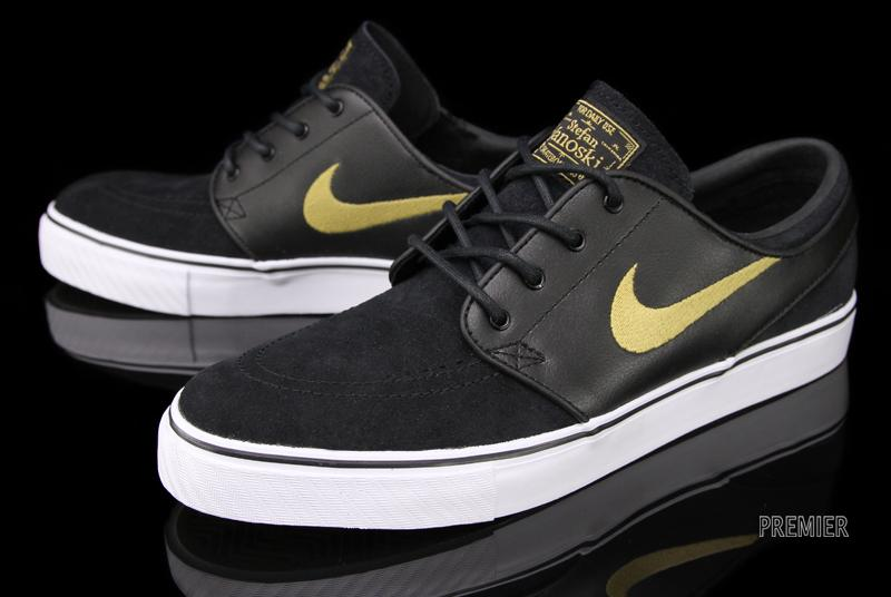 nike sb zoom stefan janoski black metallic gold sole. Black Bedroom Furniture Sets. Home Design Ideas