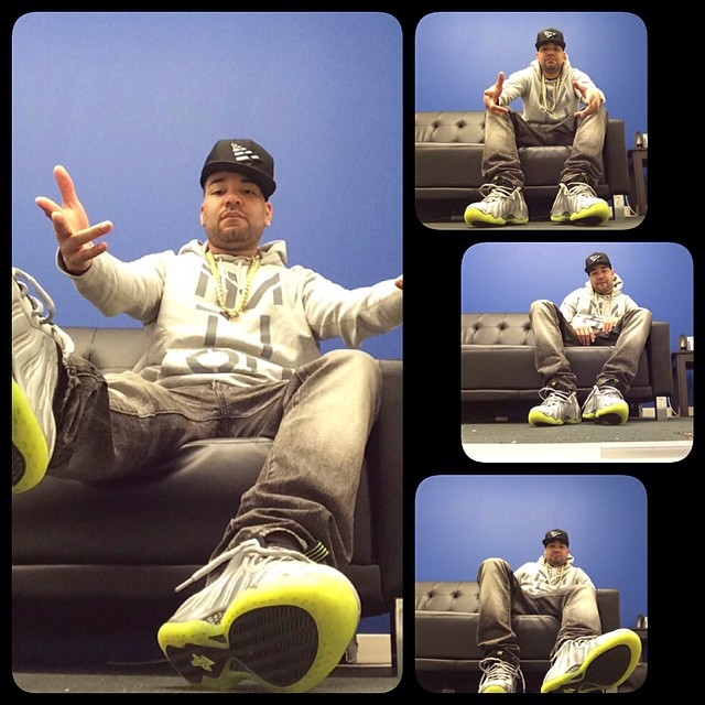 DJ Envy wearing Nike Air Foamposite One Silver Camo