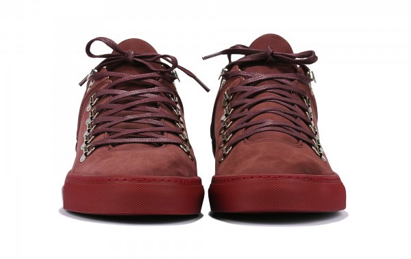 filling pieces amsterdam mountain cut trainer in all burgundy metal hardware
