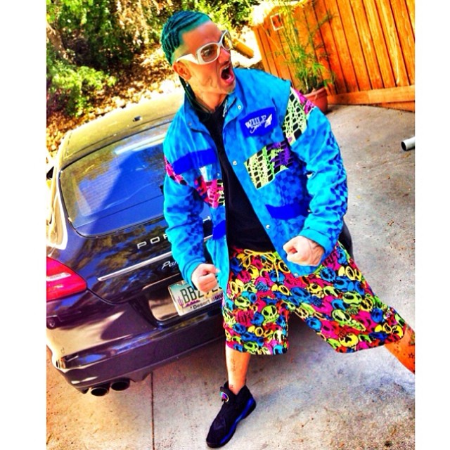 Riff Raff wearing Air Jordan 8 Retro Aqua