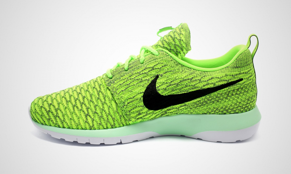 finest selection aa466 8d2b8 Nike Flyknit Roshe Run Color  Volt Black-Electric Green-Dark Grey Style     677243-700