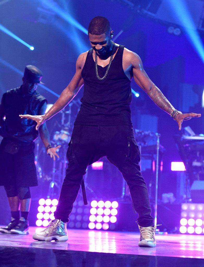 Usher Wears Gold Air Jordan 11 Sole Collector
