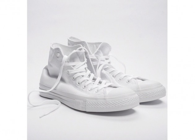 d0454e7da8aa A preview of the upcoming Undefeated x fragment design x Converse  collaboration for an all white Chuck Taylor High.