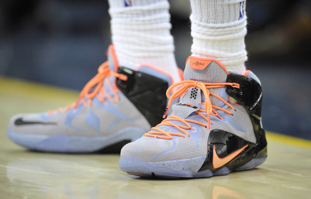 online store fc0a0 f642c LeBron James wearing the  Easter  Nike LeBron 12 (1)