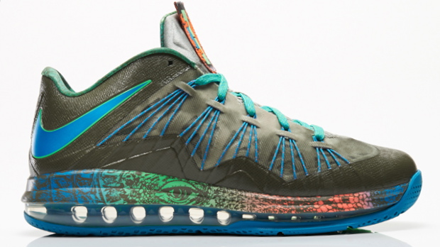 Nike Air Max LeBron 10 Low in tarp green neo turquoise poison green