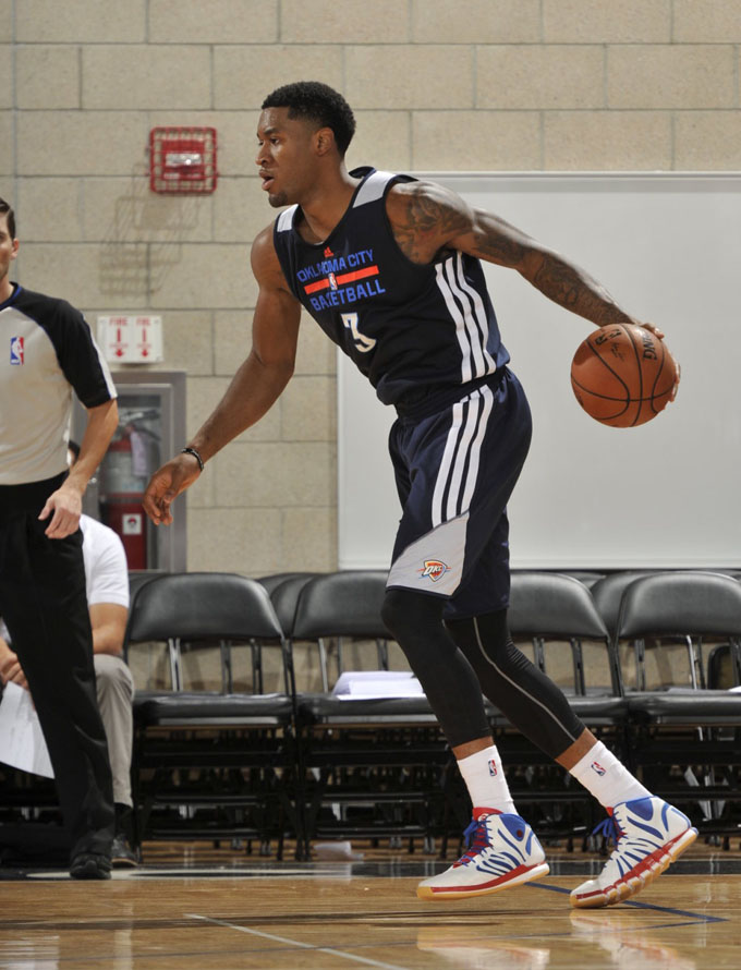 Perry Jones wearing adidas D Rose 4.5 Draft Lottery
