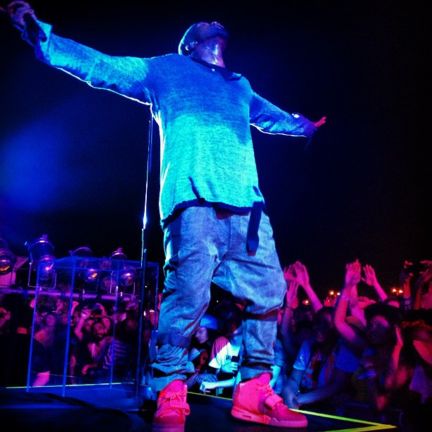 Kanye West wears Nike Air Yeezy 2 All-Red at Governor's Ball (6)