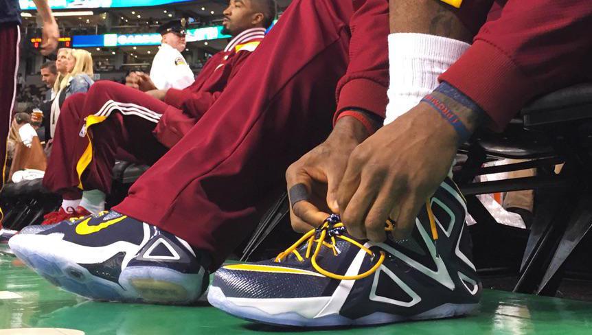 e50aab6f71e55 ... Wearing the Nike LeBron 12 Elite  Is King James having sneaker trouble  again
