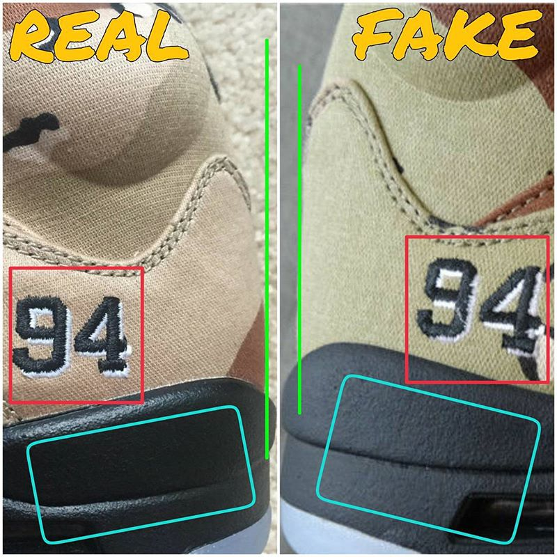 best service f5dab cab73 Supreme x Air Jordan 5 Camo Real Fake Legit Check (3)