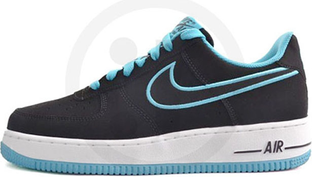Nike Air Force 1 Low Black/Turquoise Blue