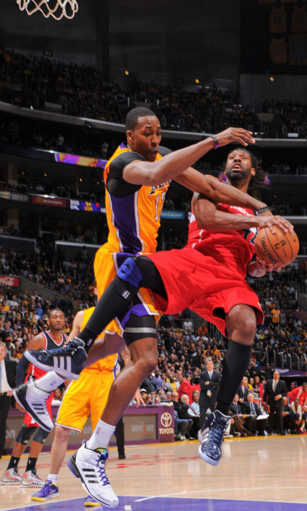 Nene wearing adidas adipower Howard; Dwight Howard wearing adidas D Howard Light Lakers Away
