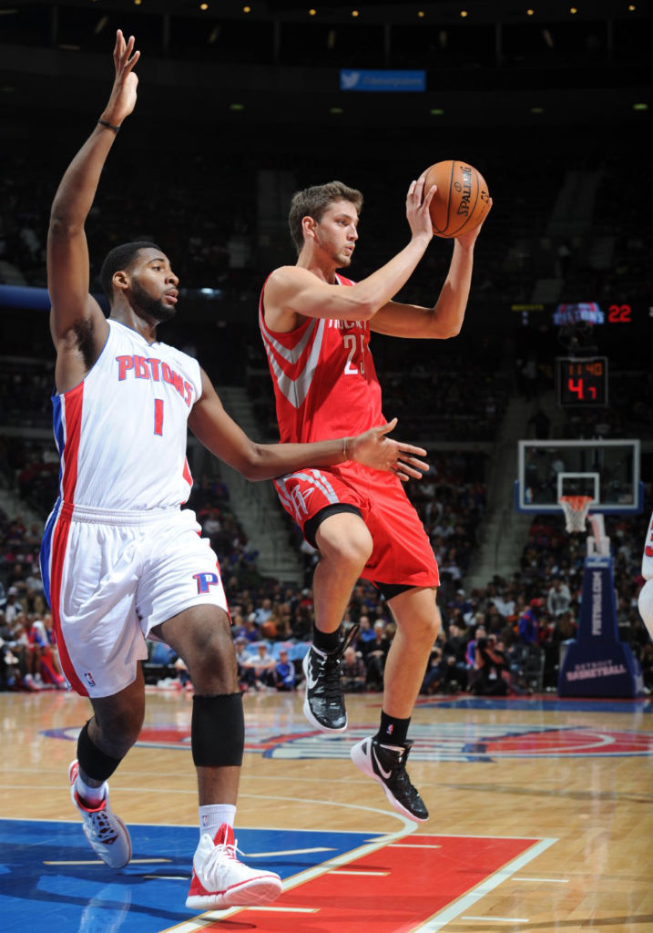 Andre Drummond wearing adidas adizero Shadow White Red
