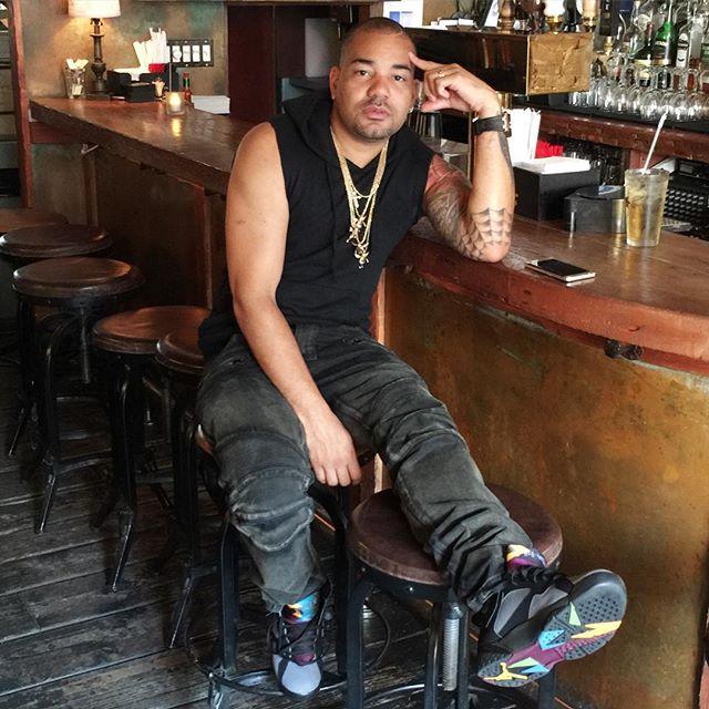 8209137f19f0 DJ Envy wearing the  Bordeaux  Air Jordan 7