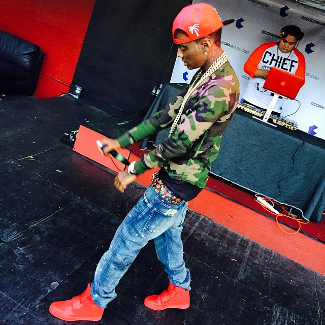 Soulja Boy wearing Nike Flystepper 2K3 Red October 267790547