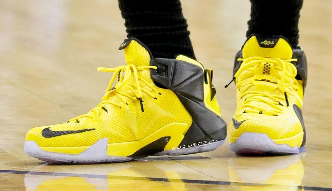 huge selection of 0c3e1 24b7a LeBron James wearing Nike LeBron 12 Taxi Yellow Black PE (6)